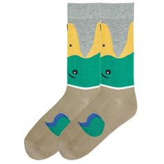 Watch out as theses little quackers bite up your legs! Mallard Duck Socks - Men's Crew are a fun way to surely fit the bill for duck lovers.
