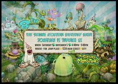 My Singing Monsters Birthday Invitations by BushyTailDesigns