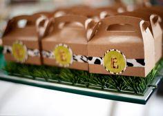 safari birthday party, party favor box
