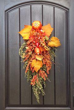 Fall Wreath Thanksgiving Autumn Teardrop Vertical Door Swag Decor
