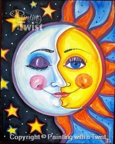 Sun & Moon - Painting with a Twist, Katy, TX Moon Painting, Painting & Drawing, Dragonfly Painting, Space Painting, Art Soleil, Sun Art, Arte Pop, Paint Party, Art Plastique