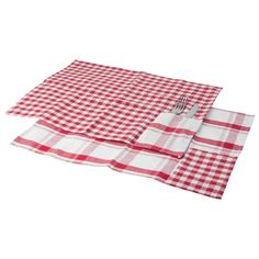 Table Placemats Set Red & White Gingham Checked Cotton Fabric Dining Place Mats #Home33Accessories #Country Picnic Blanket, Outdoor Blanket, Gingham Check, Place Mats, Red And White, Cotton Fabric, Embroidery, Dining, Country
