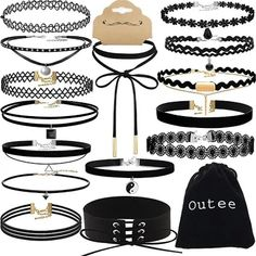 Choker Set Outee 15 PCS Womens Choker Necklace Set Black Velvet Lace Tattoo Choker Set Girls Stretch Necklace >>> Continue to the product at the image link. (This is an affiliate link and I receive a commission for the sales) Black Velvet Choker Necklace, Beaded Choker Necklace, Necklace Set, Tattoo Choker, Lace Tattoo, Girls Choker, Gifts For Nan, Girls Stretching, My Gems