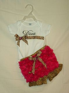 Baby girl Diva bloomers  Diaper cover Cheetah print by SedonaStyle, $20.00