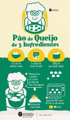 Já viu Pão de queijo de 3 ingredientes? O mixidão te mostra com uma receita-ilustrada. Muito fácil e rápida de fazer.
