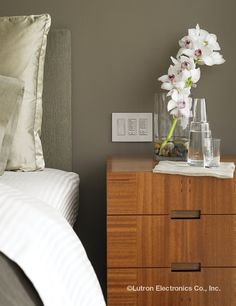 You'll never have to get out of bed again. Control your lighting and blinds with the touch a single button. Bedroom Decor Lights, Bedroom Lighting, Honeycomb Shades, Electric Gates, Dresser As Nightstand, Bedside, Getting Out Of Bed, Smart Home, Blinds