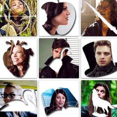 Bow=Snow, Apple=Queen, Dagger=Rumple, Heart=Cora, Hook=Hook, Hat=Hatter, Swan=Emma, Book=Belle,  Wolf=Red