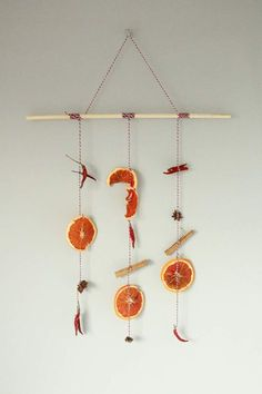 Add some autumn spice to your home, with a DIY dried fruit hanging. Use dried grapefruit, dried chillies and spices to make this autumnal decoration.