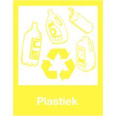 Recycleren: borden en stickers voor afvalscheiding - Plastiek