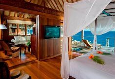 Such a comfortable bed and perfect views from your room of just the ocean.