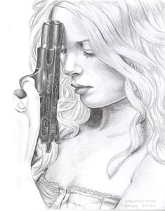 Rifle Drawings In Pencil