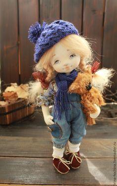Купить Авторская текстильная кукла Женя - темно-синий, авторская ручная работа, авторская работа