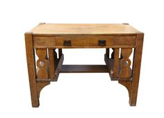 vintage oak mission style writing desk with brass handles and book shelves on each side