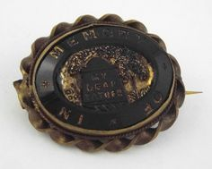 * 1840-60s ANTIQUE/VICTORIAN BLACK JET IMO MOURNING PIN/BROOCH
