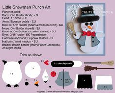 Alex's Creative Corner: Frosty Little Snowman Punch Art Instructions. Love the vest cut in half! Arte Punch, Owl Punch Cards, Christmas Punch, Christmas Countdown, Christmas Cards, Christmas Trees, Christmas Decor, Paper Punch Art, Owl Card