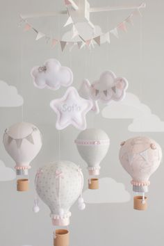 Blush Pink and Gray Hot Air Balloon Baby by sunshineandvodka