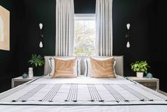 Inspiration for stylish black bedroom decor schemes: All black bedrooms, monochrome and wood decor, red and black bedrooms, black bedroom furniture and bed sets Black Bedroom Sets, Black Bedroom Design, Black Bedroom Decor, Black Bedroom Furniture, Gold Bedroom, Bedroom Ideas, Black Bedrooms, Furniture Nyc, Furniture Online