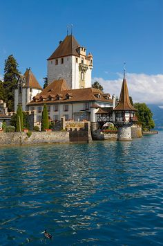 Oberhoffen Castle, Lake Thun, Switzerland.