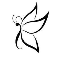 Butterfly Tattoos, Tattoo Designs Gallery - Unique Pictures and Ideas Simple Butterfly Tattoo, Tribal Butterfly Tattoo, Butterfly Art, Butterfly Stencil, Butterfly Tattoo Designs, Art Drawings Sketches, Easy Drawings, Tattoo Drawings, Drawing Designs