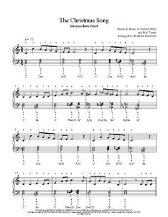 The Christmas Song by Nat King Cole Piano Sheet Music | Intermediate Level