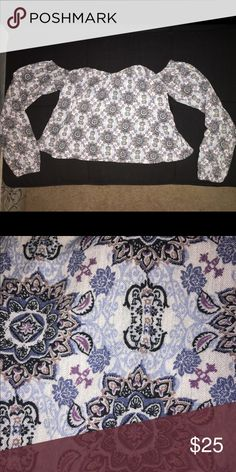 PacSun x LA HEARTS off shoulder top Blue patterned 100% rayon off shoulder top from PacSun x LA HEARTS. Worn twice. Great condition. Tops Blouses