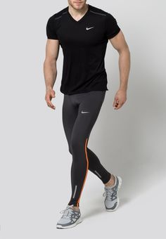 Gym Clothes for Men : Nike Performance TECH Tights anthracite/total orange/reflective silver Zalando. Outfits Hombre, Sport Outfits, Fitness Fashion, Sport Fashion, Fashion Wear, Look Street Style, Mens Tights, Gym Tops, Running Pants