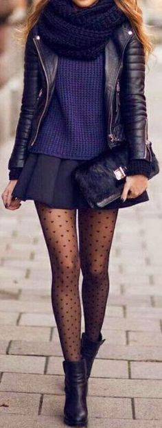I love these patterned tights with the skirt and leather jacket for a winter look - Cute Winter Outfits To Copy Immediately - SOCIETY19