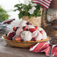 A Patriotic Party | This patriotic dessert is as easy as scooping ice cream into a graham-cracker crust and letting it firm up in the freezer.