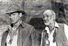 Harrison Ford as Indiana Jones and Sean Connery as Dr. Henry Jones from Indiana Jones And The Last Crusade