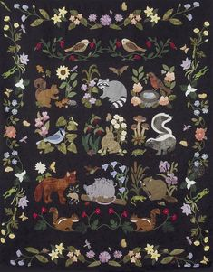 Woodland Creatures - All Blocks by Quilts by Rosemary in a Laser Cut & Pre Fused Applique Quilt Kit. All pieces come already cut with the fusible attached on the back! Wool Applique Quilts, Wool Applique Patterns, Wool Quilts, Embroidered Quilts, Hand Applique, Quilt Patterns, Flower Applique, Mini Quilts, Woodland Creatures