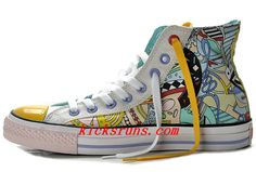 Converse Silk Road Comics Pattern Printed Multi Colored High Tops Chuck  Taylor All Star Canvas Shoes