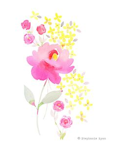 Etsy の Pink and Yellow Art Print by stephanieryanart