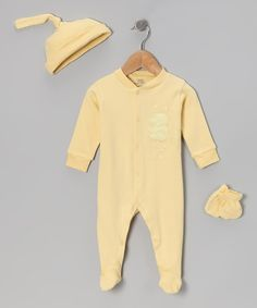 Take a look at this Yellow Ducky Footie Set by Tots Fifth Avenue on #zulily today!