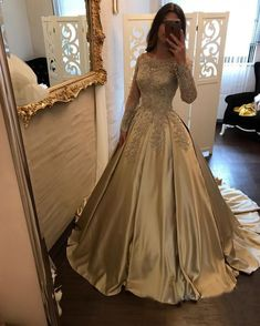 Gold Prom Dresses with Long Sleeves Elegant Lace