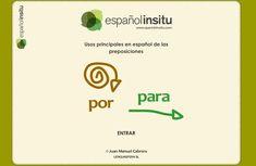 """Unidad didáctica interactiva sobre usos básicos en español de las preposiciones por y para. De """"españolinsitu"""""""