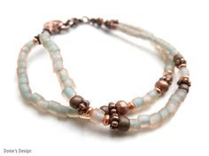 Kralenarmbanden - copper bracelet with salmon + green beads (S-603e) - Een uniek product van DomesDesign op DaWanda