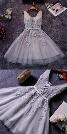 Cute A-line grey lace short prom dress,homecoming dresses from Little Cute - Renee Marino Prom Dresses Prom Dresses For Teens, Cute Prom Dresses, Prom Dresses Long With Sleeves, Prom Outfits, Pretty Dresses, Dress Long, Formal Dresses, Dress Prom, Bridesmaid Dresses