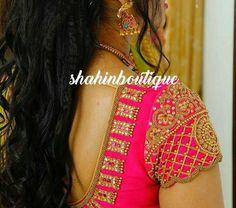 Bright pink full Kundan,pearl and beads work handmade Silk saree Blouse