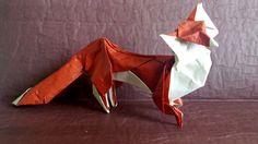 Zorro de Hoang Tien Quyet plegado en papel hecho por mi con Tant color hueso y doble seda color teja de 35x35.