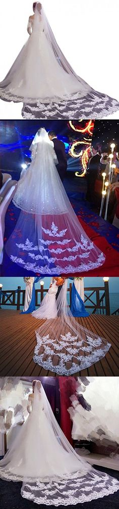 Eliffete 2 Tiers Long Off White Chapel Luxury Lace Wedding Veil for Bride with Comb