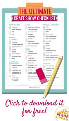 Free printable craft show checklist covering what you need to bring to a craft fair, farmers' market or trade show to make it through the day.