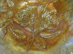 Vintage Bowl Imperial Carnival Glass Marigold Lustre Rose or Open Rose 8 1/2 Inch USA by hazeleyesartglassetc on Etsy #Imperial #lustre #openrose #GVSteam $44.99
