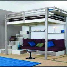 Incredible loft bed with hidden desk just on home design ideas site One Bedroom Apartment, Bedroom Loft, Loft Spaces, Storage Spaces, Build A Loft Bed, Hidden Desk, Bunk Bed With Desk, Tiny Office, Brick Loft