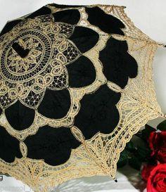 Black & Gold Battenburg Lace Parasol, Victorian Sun Umbrella, New! Chic Elegant #Unbranded #Parasol