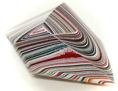 Button ~ Fordite, with Faceted Glass Pieces Laminated Together - Made By KPHoppe - Large by KPHoppe on Etsy