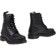 Dr. Martens Ankle Boots (3.075 CZK) ❤ liked on Polyvore featuring shoes, boots, ankle booties, black, black combat boots, black military boots, black leather booties, black bootie and studded combat boots