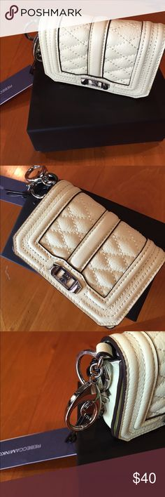Rebecca Minkoff Love Fob Key Leather Purse/New This nice tiny purse from RM comes in honey dew genuine leather and can hold around 10 credit cards and ID (see pic).....the size is 3 1/4 x 4 1/4 inches Rebecca Minkoff Accessories Key & Card Holders