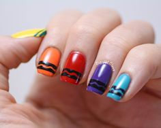 Color back to school Copycat Claws: Crayon Nail Art Claws Copy: Nail Art Pencil School Nail Art, Back To School Nails, Colorful Nail, Nail Art Noir, Teacher Nails, Hair And Nails, My Nails, American Nails, Nail Manicure