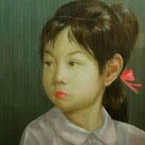 "Painting - Portrait by Thai Artist Attasit Pokpong ""Young Girl"" 200x200cm at Tusk Art Gallery"