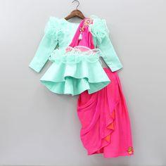 Pre Order: Peplum Top With Drape Saree Style Skirt Kids Indian Wear, Kids Ethnic Wear, Kids Frocks Design, Baby Frocks Designs, Frocks For Girls, Dresses Kids Girl, Baby Dresses, Bridesmaid Dresses, Kids Blouse Designs